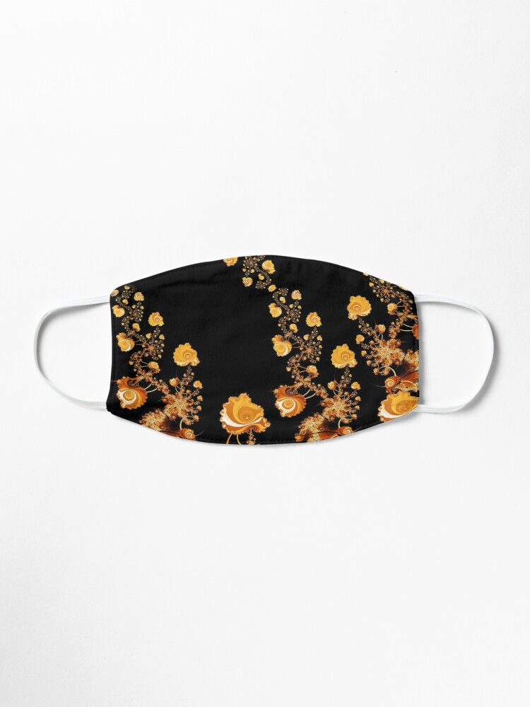 Alternate view of Abstract Gold Floral Roses Pattern on Black Mask