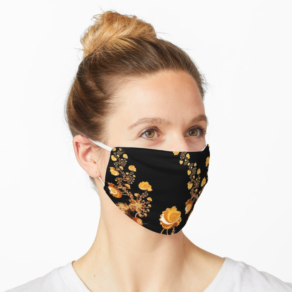 Abstract Gold Floral Roses Pattern on Black Mask