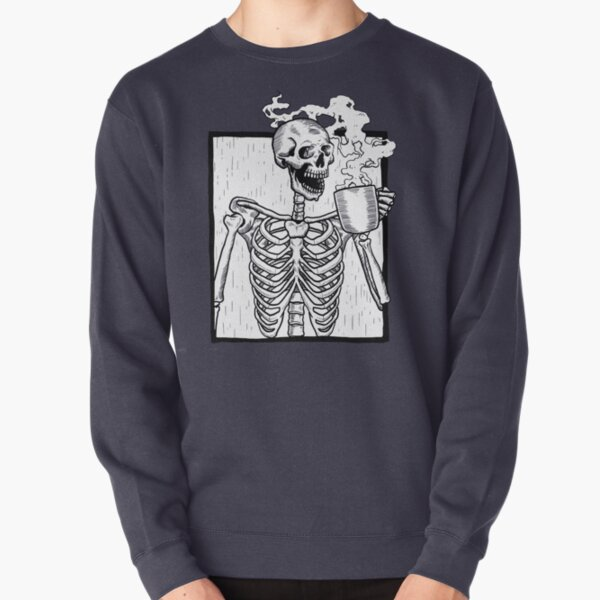 halloween coffee drinking skeleton  Pullover Sweatshirt