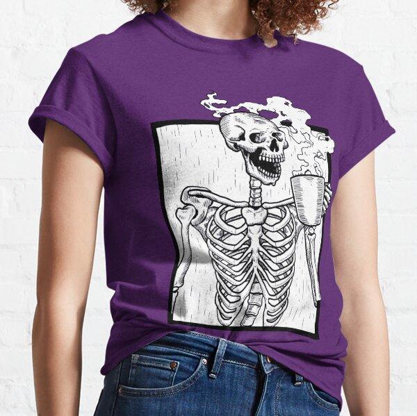 halloween coffee drinking skeleton  Classic T-Shirt