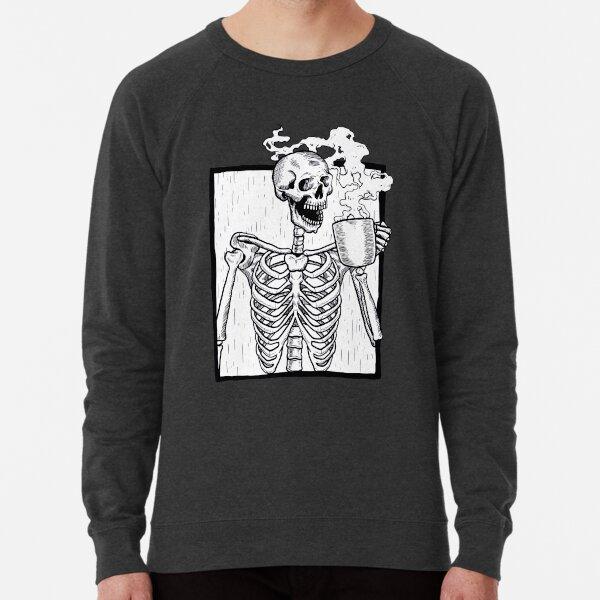 halloween coffee drinking skeleton  Lightweight Sweatshirt