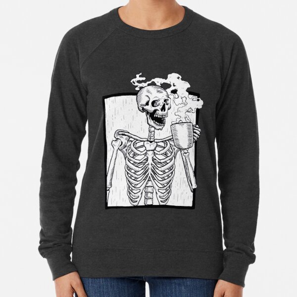 halloween coffee drinking skeleton  Lightweight Sweatshirt