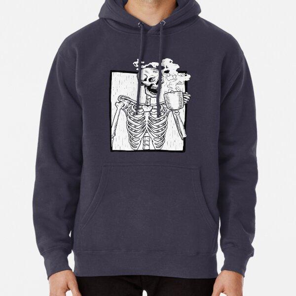 halloween coffee drinking skeleton  Pullover Hoodie