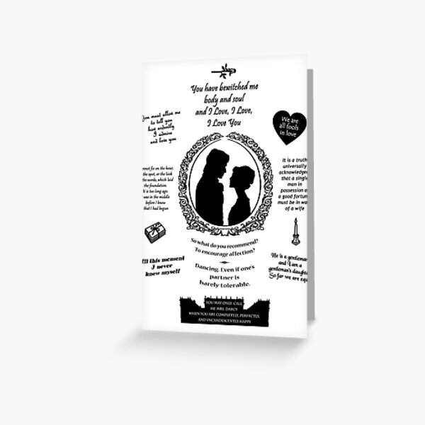 "Pride and Prejudice Elizabeth and Darcy ""Iconic Quotes"" Silhouette Design  Greeting Card"