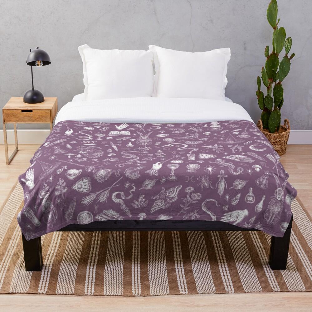 Purple Salem Witch  Throw Blanket
