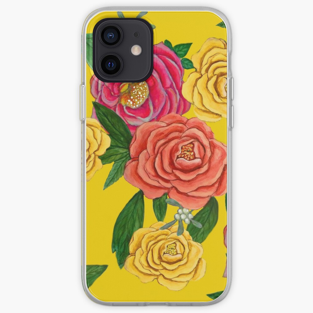 Peony and mistletoe berries on Yellow, New Year floral for 2020 iPhone Case & Cover