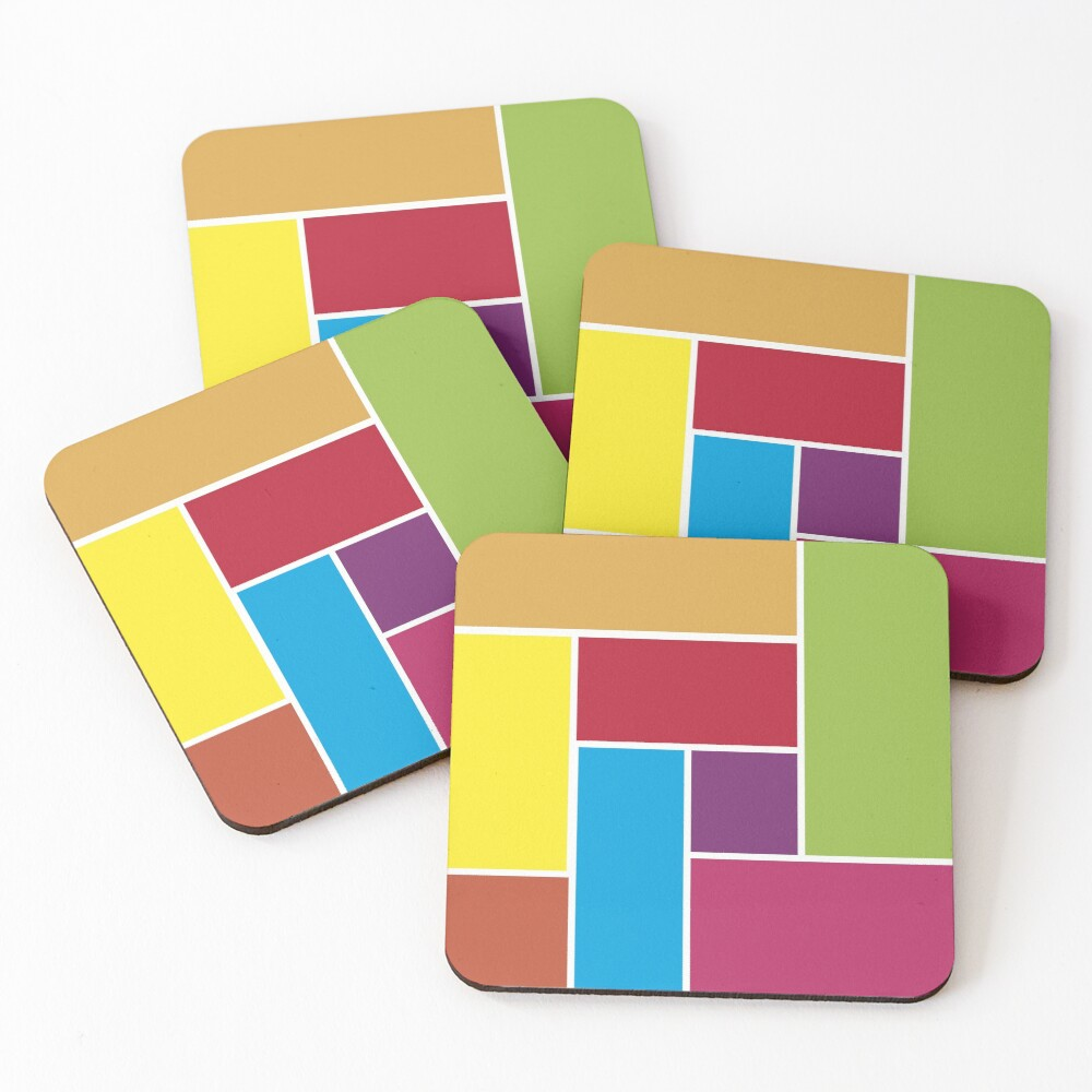 Colorful Blocks Coasters (Set of 4)
