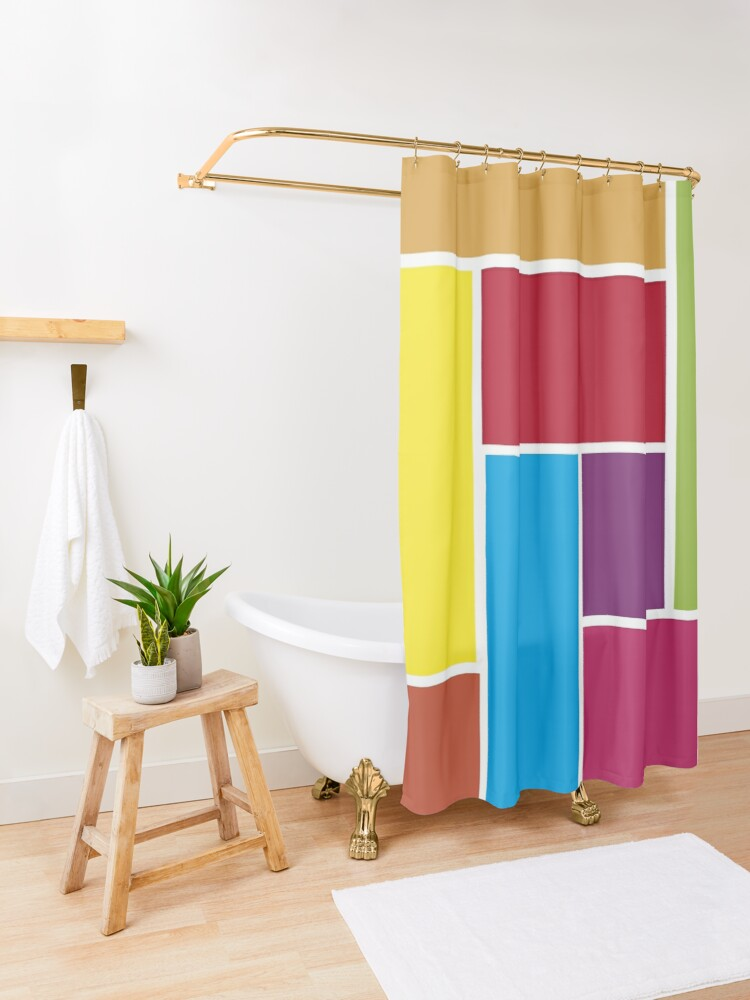 Alternate view of Colorful Blocks Shower Curtain