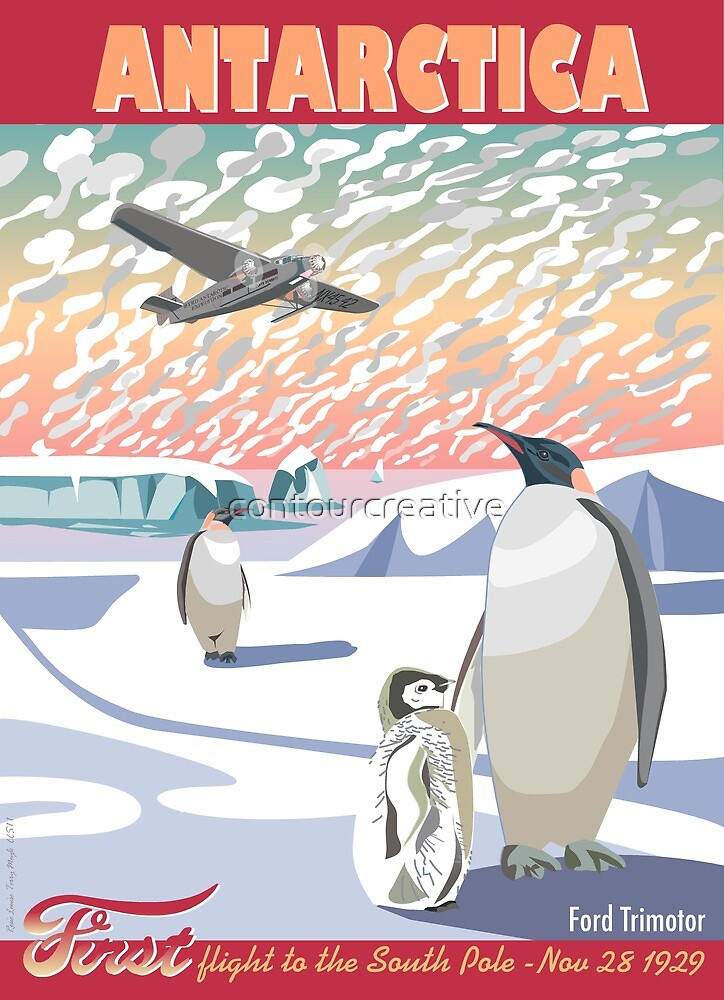 Antarctica - Ford Trimotor and Penguins by contourcreative