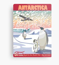 Antarctica - Ford Trimotor and Penguins Metal Print