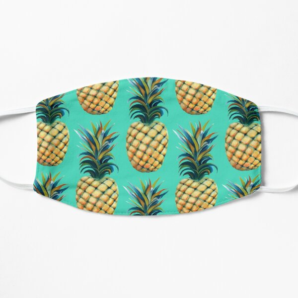 Pineapple watercolor - biscay green background Flat Mask
