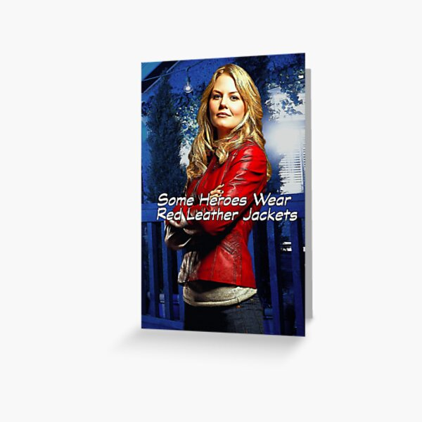 """Some Heroes Wear Red Leather Jackets"" Greeting Card"