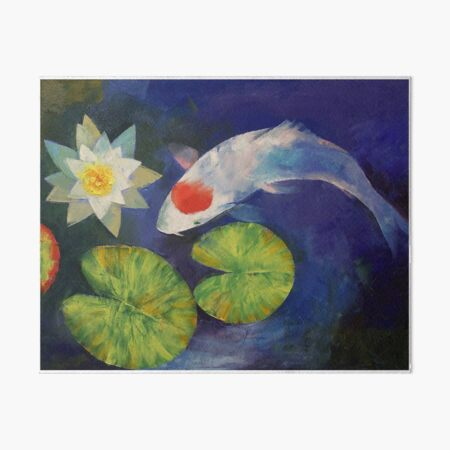 Tancho Koi and Water Lily Art Board Print