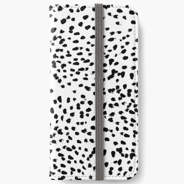 Nadia - Black and White, Animal Print, Dalmatian Spot, Spots, Dots, BW iPhone Wallet