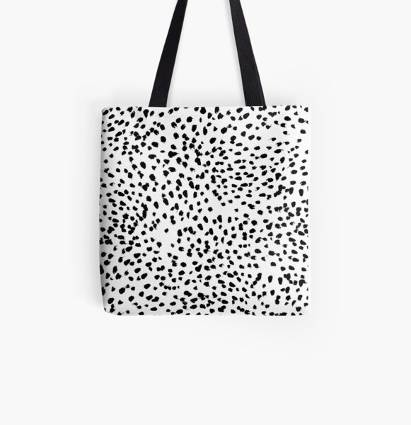 Nadia - Black and White, Animal Print, Dalmatian Spot, Spots, Dots, BW All Over Print Tote Bag