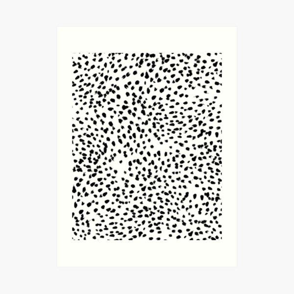 Nadia - Black and White, Animal Print, Dalmatian Spot, Spots, Dots, BW Art Print