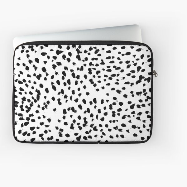 Nadia - Black and White, Animal Print, Dalmatian Spot, Spots, Dots, BW Laptop Sleeve