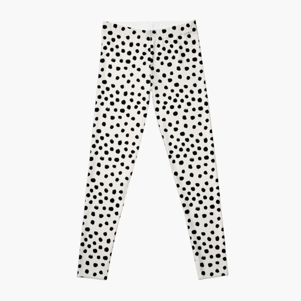 Preppy brushstroke free polka dots black and white spots dots dalmation animal spots design minimal Leggings