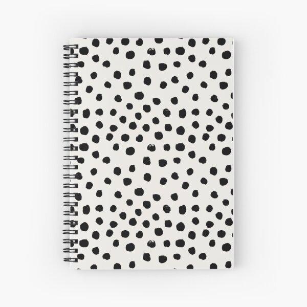Preppy brushstroke free polka dots black and white spots dots dalmation animal spots design minimal Spiral Notebook