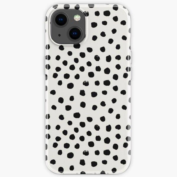 Preppy brushstroke free polka dots black and white spots dots dalmation animal spots design minimal iPhone Soft Case