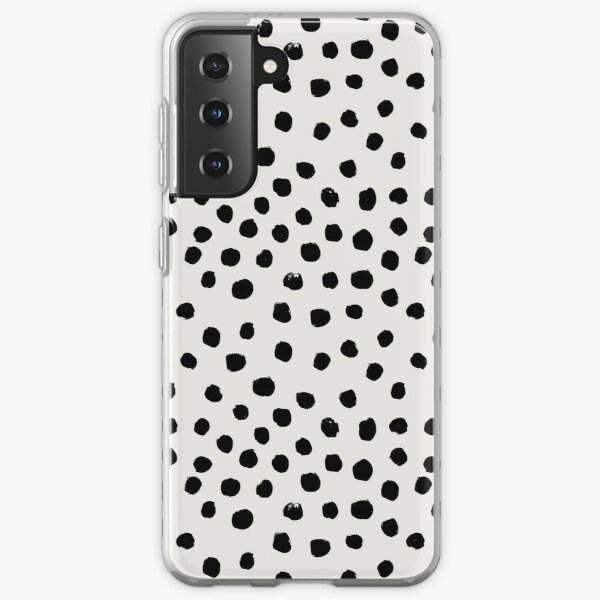 Preppy brushstroke free polka dots black and white spots dots dalmation animal spots design minimal Samsung Galaxy Soft Case