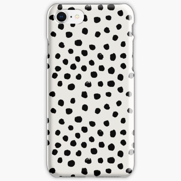 Preppy brushstroke free polka dots black and white spots dots dalmation animal spots design minimal iPhone Snap Case