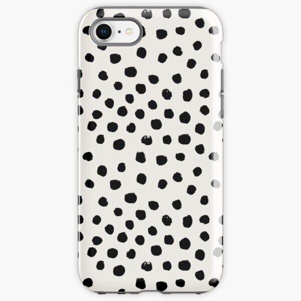 Preppy brushstroke free polka dots black and white spots dots dalmation animal spots design minimal iPhone Tough Case