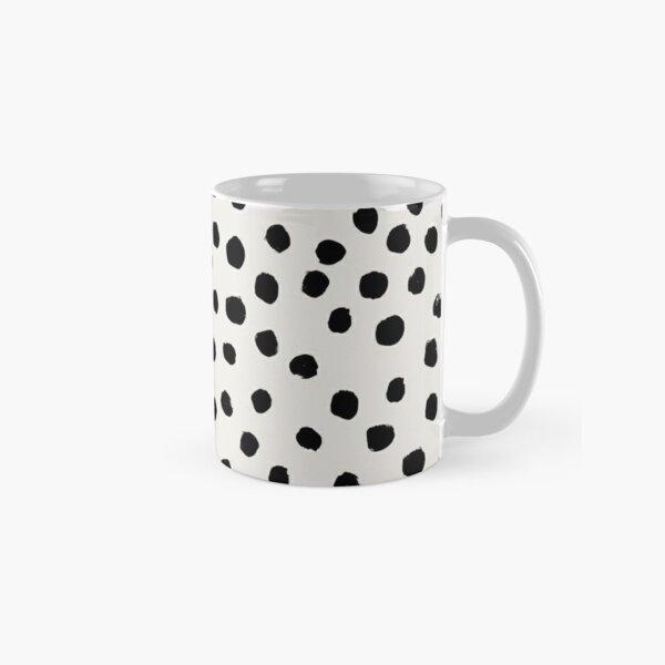 Preppy brushstroke free polka dots black and white spots dots dalmation animal spots design minimal Classic Mug