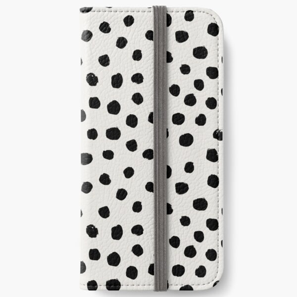Preppy brushstroke free polka dots black and white spots dots dalmation animal spots design minimal iPhone Wallet