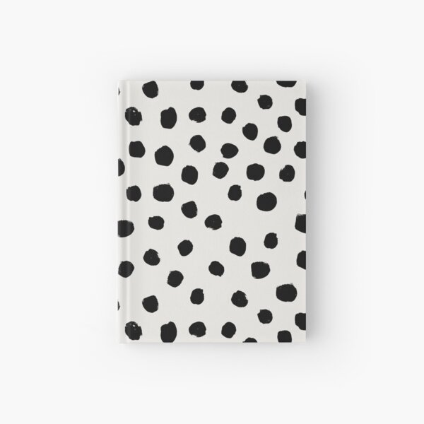 Preppy brushstroke free polka dots black and white spots dots dalmation animal spots design minimal Hardcover Journal
