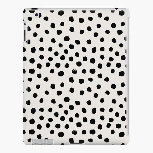 Pinceladas de muy buen gusto, lunares libres, manchas blancas y negras, puntos, dalmación, manchas de animales, diseño minimalista Funda rígida para iPad