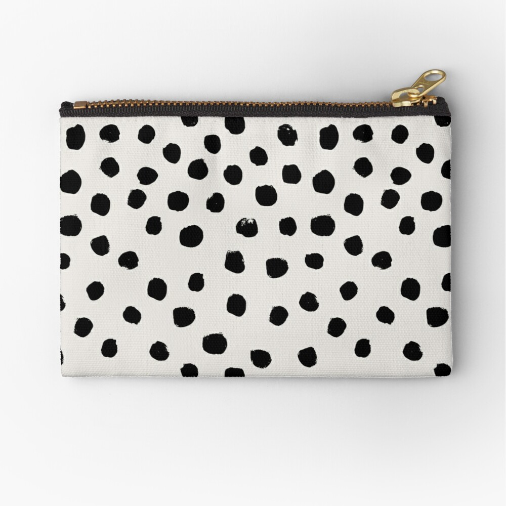 Preppy brushstroke free polka dots black and white spots dots dalmation animal spots design minimal Zipper Pouch
