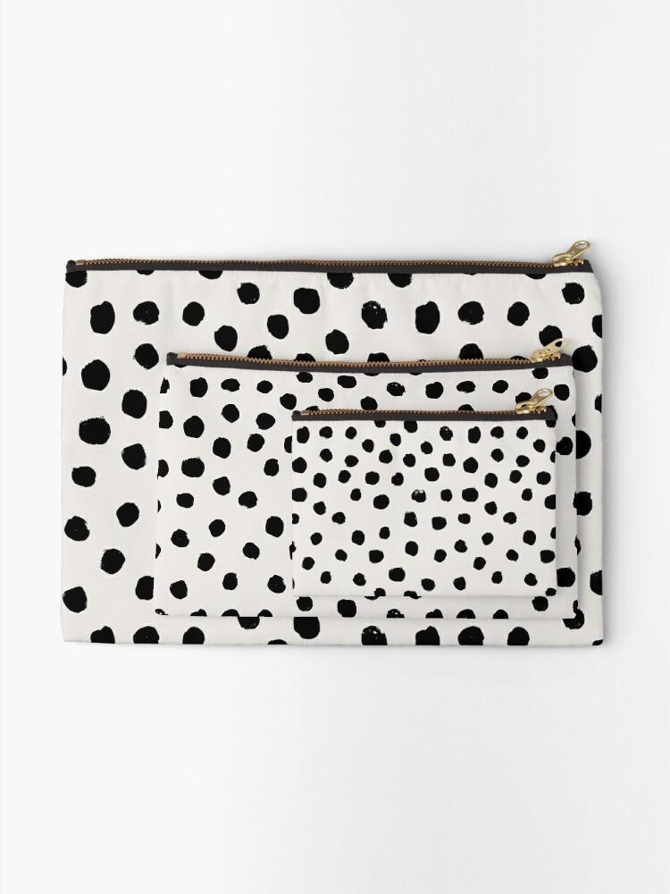 Alternate view of Preppy brushstroke free polka dots black and white spots dots dalmation animal spots design minimal Zipper Pouch