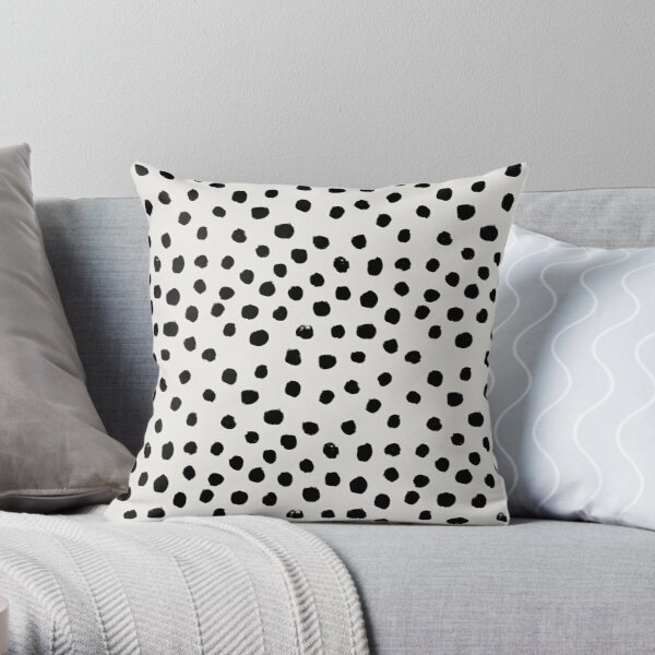 Preppy brushstroke free polka dots black and white spots dalmation animal spots design minimal Coussin