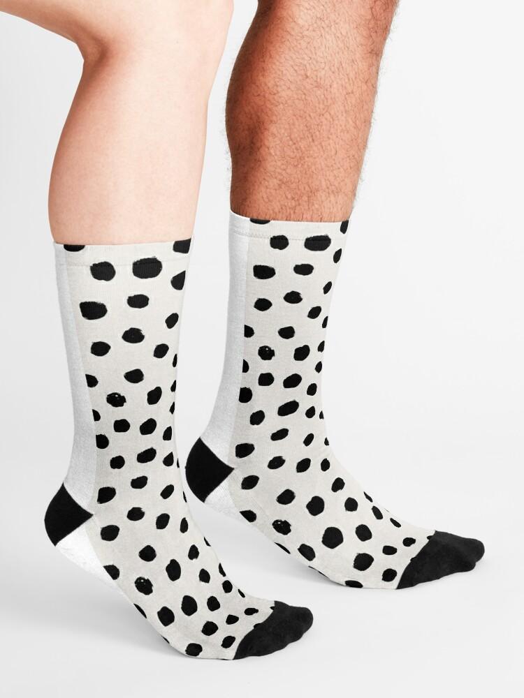 Alternate view of Preppy brushstroke free polka dots black and white spots dots dalmation animal spots design minimal Socks