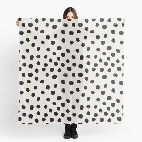 Preppy brushstroke free polka dots black and white spots dots dalmation animal spots design minimal Scarf