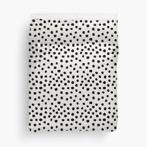 Preppy brushstroke free polka dots black and white spots dots dalmation animal spots design minimal Duvet Cover