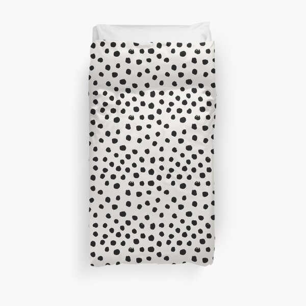Preppy brushstroke free polka dots black and white spots dots dalmation animal spots design minimal Duvet Cover
