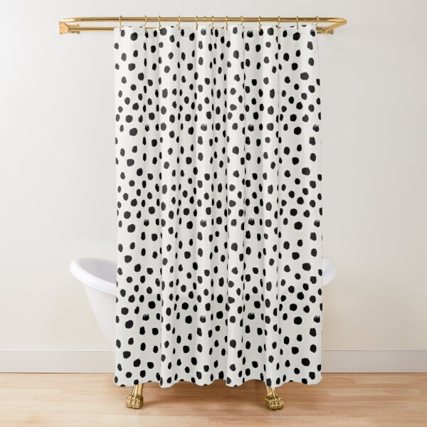 Preppy brushstroke free polka dots black and white spots dots dalmation animal spots design minimal Shower Curtain