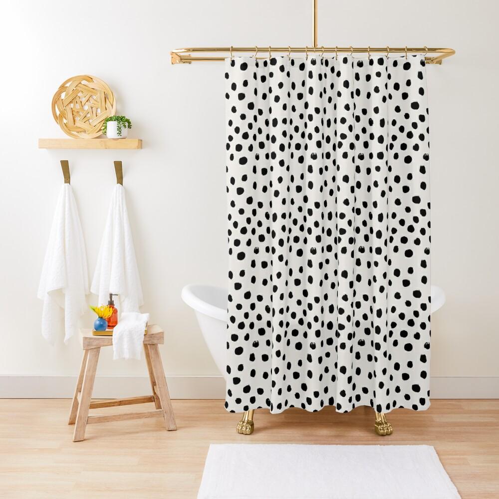Preppy brushstroke free polka dots black and white spots dots dalmation animal spots design minimal Shower Curtain