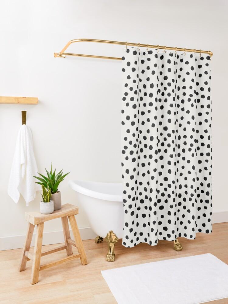 Alternate view of Preppy brushstroke free polka dots black and white spots dots dalmation animal spots design minimal Shower Curtain