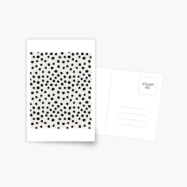 Preppy brushstroke free polka dots black and white spots dots dalmation animal spots design minimal Postcard