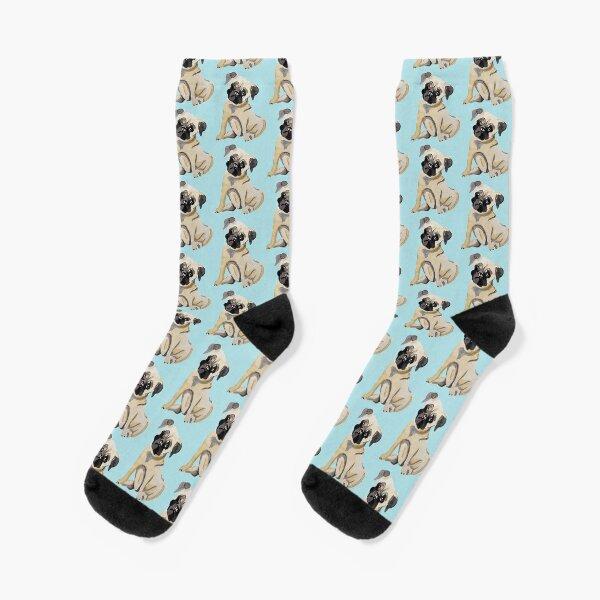 Pug Dog Illustration Socks