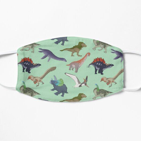 Mesozoic Reptiles Pattern - Mint Flat Mask