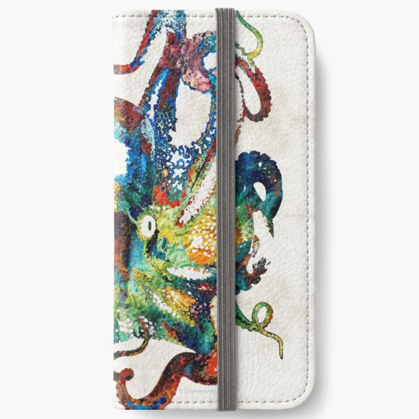 Colorful Octopus Art by Sharon Cummings iPhone Wallet