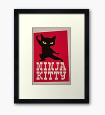 Ninja Kitty Retro Poster Framed Print
