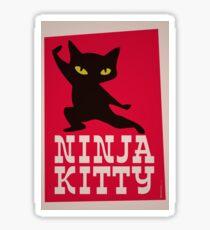 Ninja Kitty Retro Poster Sticker