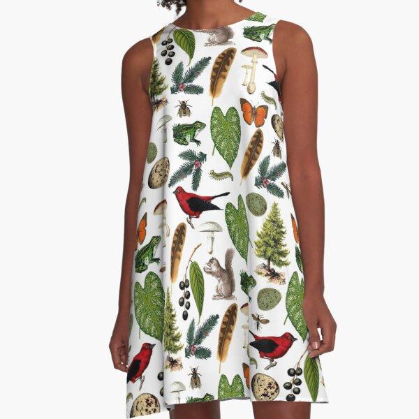 Rustic Woodland Plants And Animals Pattern A-Line Dress