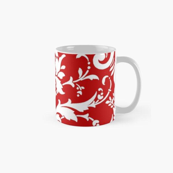 Cherry Red Damask Pattern Classic Mug