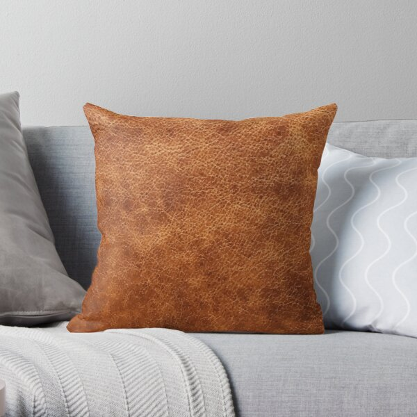 Brown vintage faux leather background Throw Pillow